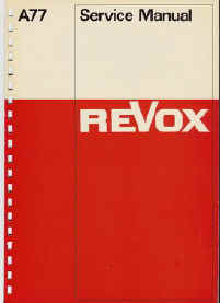 Cover page of Revox A77 service manual